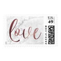 Smooth Faux Gold Foil Script Love over Marble Postage