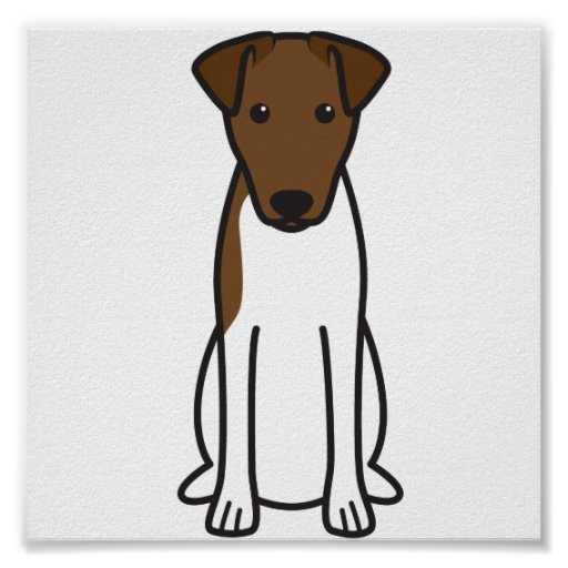 Smooth Fox Terrier Dog Cartoon Poster