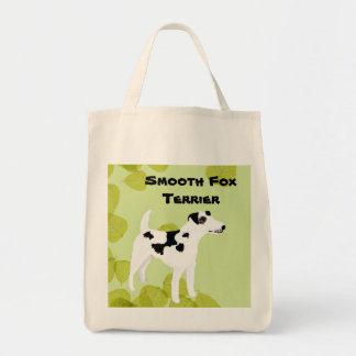 Smooth  Fox Terrier ~ Green Leaves Design Tote Bag