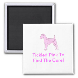 Smooth Fox Terrier Pink Dog 2 Inch Square Magnet
