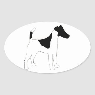 smooth fox terrier silhouette oval sticker