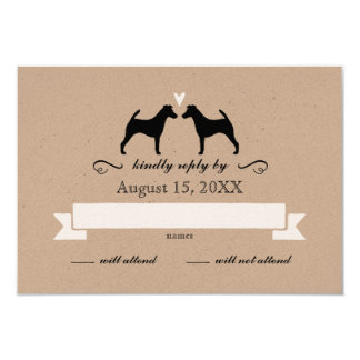 Smooth Fox Terrier Silhouettes Wedding RSVP Reply Card