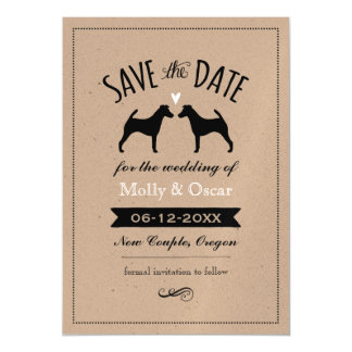 Smooth Fox Terriers Wedding Save the Date Magnetic Card