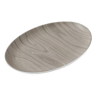 Smooth Gray Wood Porcelain Serving Platter