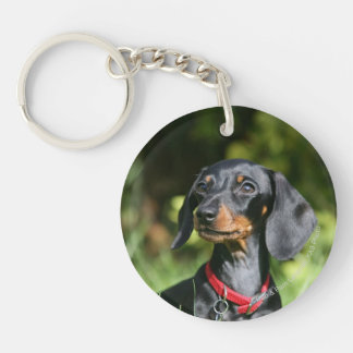 Smooth-haired Miniature Dachshund 3 Double-Sided Round Acrylic Keychain