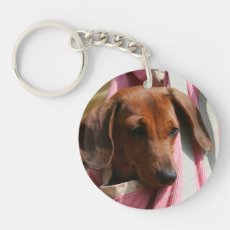 Smooth-haired Miniature Dachshund Puppy Double-Sided Round Acrylic Keychain