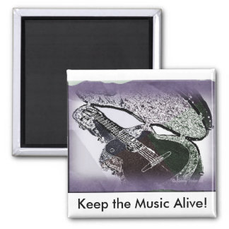Smooth Jazz Guitar 2 Inch Square Magnet
