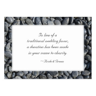 Smooth Pebbles Wedding Charity Favor Card Large Business Cards (Pack Of 100)