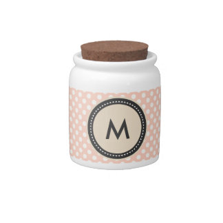 Smooth pink spots, label and monograma candy dish