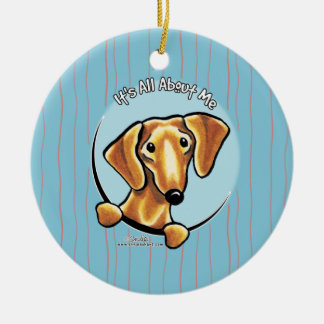 Smooth Red Dachshund IAAM Ceramic Ornament