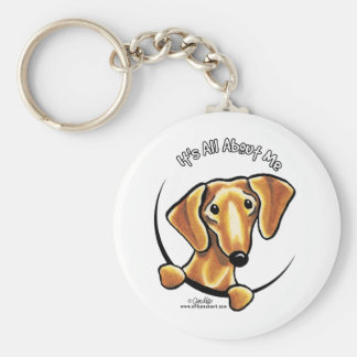 Smooth Red Dachshund Its All About Me Basic Round Button Keychain