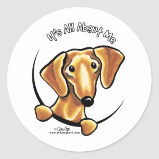 Smooth Red Dachshund Its All About Me Classic Round Sticker