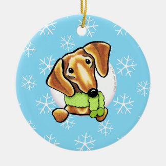 Smooth Red Dachshund Let it Snow Ceramic Ornament