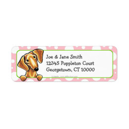 Smooth Red Dachshund Pink Polka Dots Label