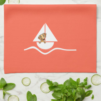 Smooth Red Dachshund Sailboat Red Hand Towels