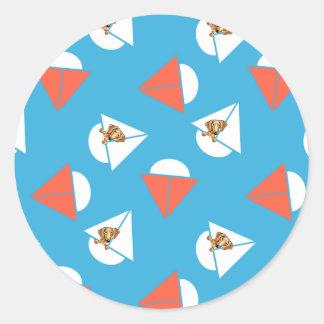 Smooth Red Dachshund Sailboats Blue Classic Round Sticker