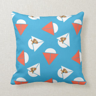 Smooth Red Dachshund Sailboats Blue Throw Pillow