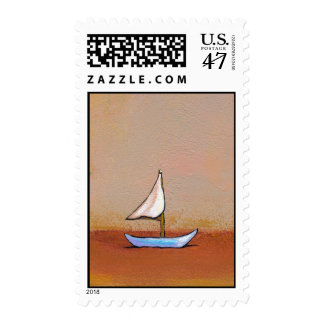 Smooth Sailing - beauty peace calm modern art Stamp