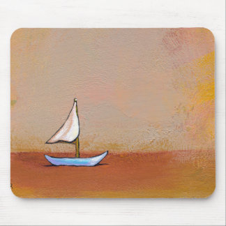Smooth Sailing - beauty peace calm modern boat art Mouse Pad