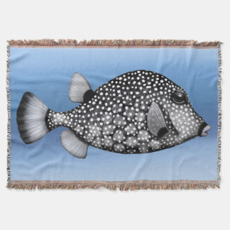 Smooth Trunkfish Coral Reef Fish Throw Blanket