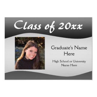 Smooth Wave Black/Gray Graduation Announcement