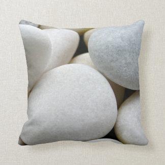 Smooth White Round Zen Pebbles Stone Photo Cushion