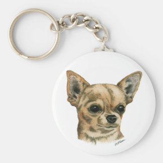 Smoothcoat chihuahua basic round button keychain