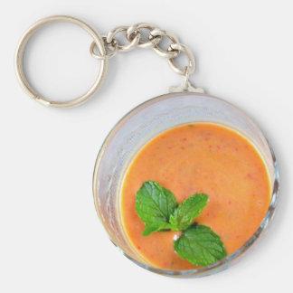 smoothie anaranjado de la zanahoria con licencia llavero redondo tipo chapa