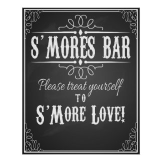 S'More Bar chalkboard wedding party print