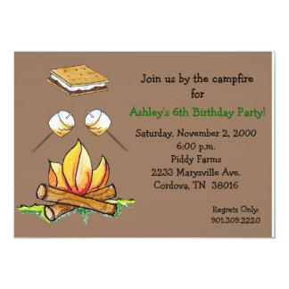 """Smore Campfire Invitation 5"""" X 7"""" Invitation Card"""