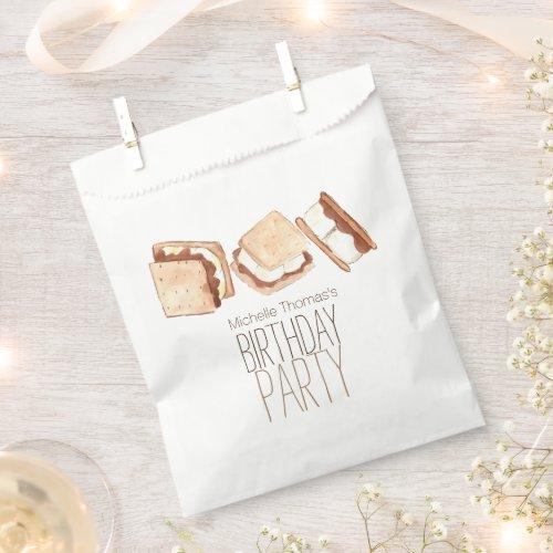 Smore camping birthday party favor bag