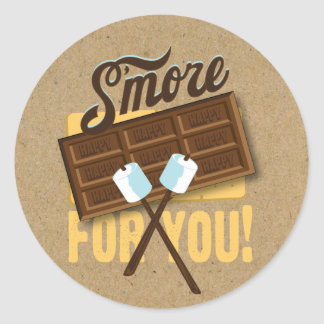 S'more for You Camp Fire Favor labels Bonfire Classic Round Sticker