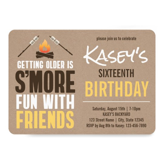 Smore Fun With Friends Bonfire Birthday Party Invitation