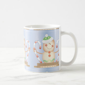 Smore_Gingerbread_Man_and_Candycane_ WINTER HAPPY Classic White Coffee Mug