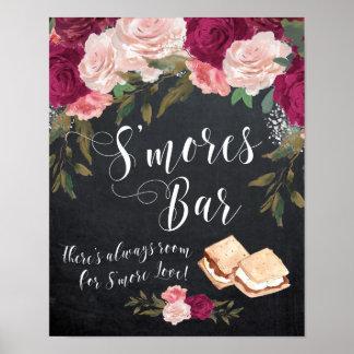 smores bar sign chalkboard floral