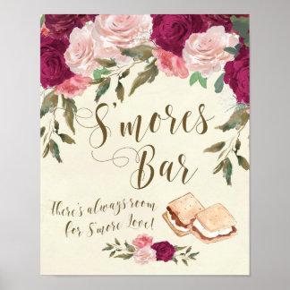 Smores Bar sign ivory floral wedding bbq