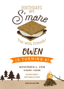 Smores Camping Fun With Friends Birthday Invitation