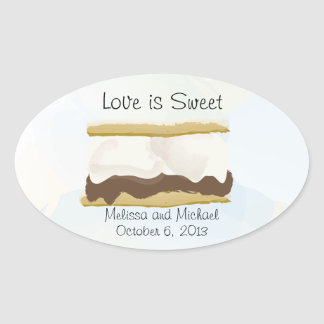 Smores Love Is Sweet Oval Stickers