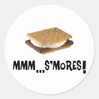¡… s'mores mmm! etiquetas redondas