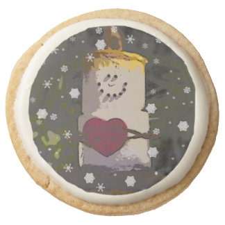S'Mores Snowman in the Snow Round Premium Shortbread Cookie