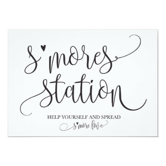 S'mores Station Favor Party Signage Card