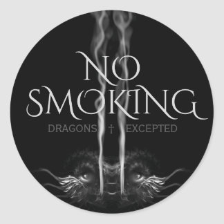 SMOULDER NOIR Black Dragon 'No Smoking' Classic Round Sticker