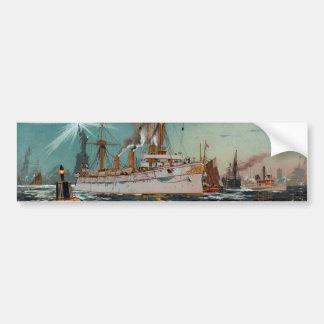 SMS Kaiserin Augusta leaving New York by Saltzmann Car Bumper Sticker