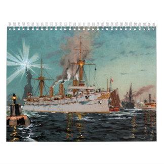 SMS Kaiserin Augusta leaving New York by Saltzmann Calendar