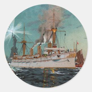 SMS Kaiserin Augusta leaving New York by Saltzmann Classic Round Sticker
