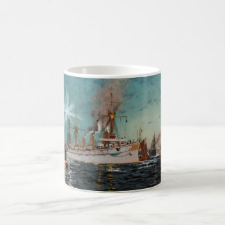 SMS Kaiserin Augusta leaving New York by Saltzmann Coffee Mug