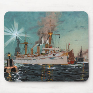 SMS Kaiserin Augusta leaving New York by Saltzmann Mouse Pad