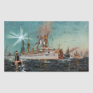 SMS Kaiserin Augusta leaving New York by Saltzmann Rectangular Sticker