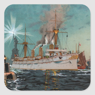 SMS Kaiserin Augusta leaving New York by Saltzmann Square Sticker