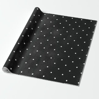 Smudge Black with White Polka Dots Wrapping Paper